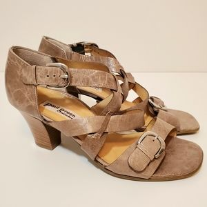 •PAUL GREEN • Handmade Distressed Leather Sandals